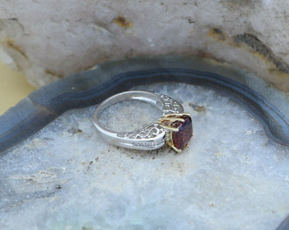 14K White Gold Garnet and Diamond Ring, Size 7