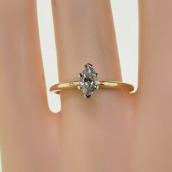 14K Yellow Gold 5/8 ct Marquise Diamond Solitaire Ring Size 7.75 Circa 1960