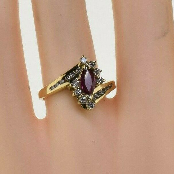 Vintage 14K Yellow Gold Diamond Halo Ruby Ring Size 7.75 Circa 1960