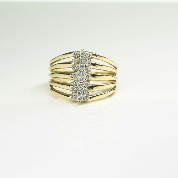 14K Yellow Gold Diamond Ring with 24 Round Diamonds Size 11 Circa 1970