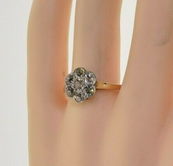 Vintage 14K Yellow Gold Diamond Rosette Ring French Circa 1919 Ring Size 8.25