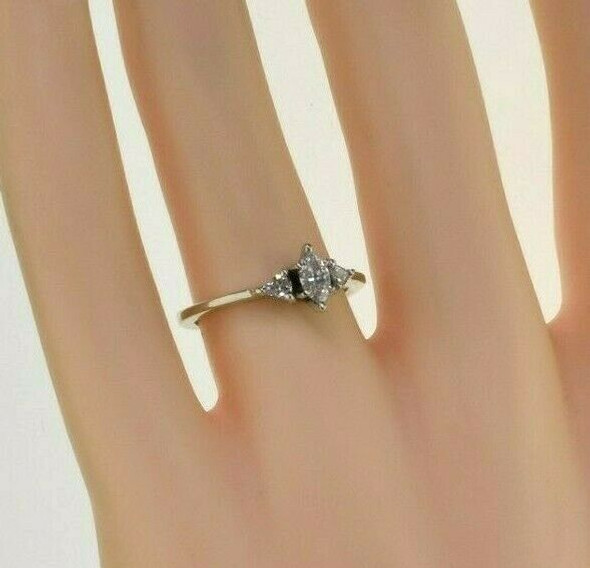 14K White gold 1/2 ct tw Marquise and Trillion Diamond Ring Size 6 Circa 1990