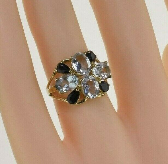 14K Yellow Gold Aquamarine and Sapphire Ring Size 5.75