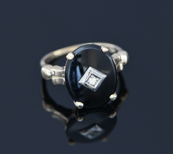 10K Yellow Gold Black Onyx Ring with Diamond Set Center, Circa 1950, Size 7