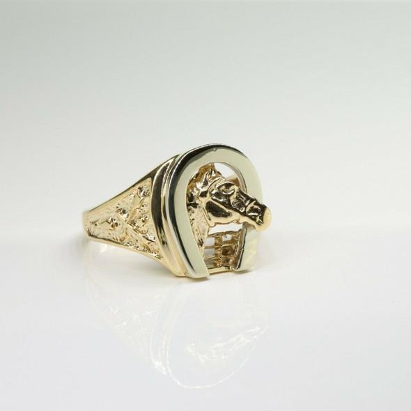14K Yellow and White Gold Horseshoe Ring Size 11.25 Circa 1970