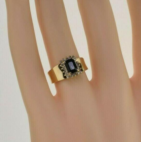 14K Yellow Gold Dark Sapphire and Diamond Halo Ring Size 6.5 Circa 1960
