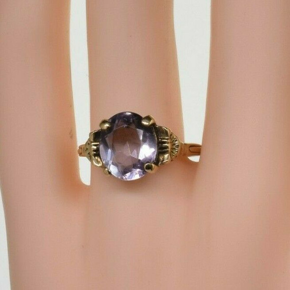 14K Yellow Gold Oval Amethyst Deco Ring Size 8