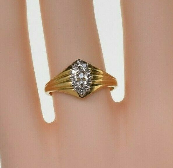 Vintage 14K Yellow Gold Marquise Shaped Diamond Ring Size 7 Circa 1960