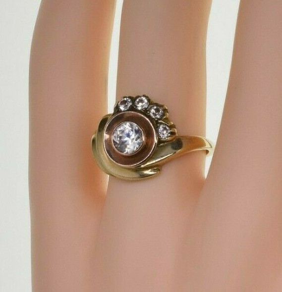 Vintage 14K Yellow Gold Art Deco Style Crystal Ring Size 7 Circa 1950