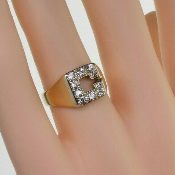 "Vintage 14K Yellow Gold Diamond ""C"" Ring Size 5 circa 1950"