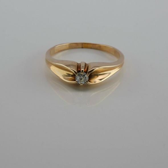 Vintage 14K Yellow Gold Diamond Solitaire Ring Size 8.25 Circa 1940