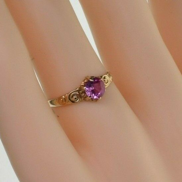 Vintage 14K Yellow Gold Pink Tourmaline Solitaire Ring Size 5.75 Circa 1950