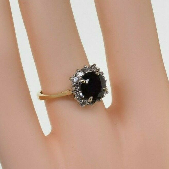 14K Yellow Gold Dark Purple/Red Natural Sapphire Diamond Halo Ring Size 5.5