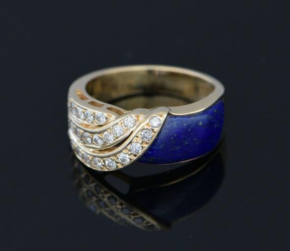 14K Yellow Gold Lapis Swirl Panel & Diamond Ring , Size 7