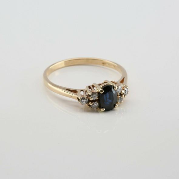 14K Yellow Gold 1 ct tw Sapphire & Diamond Ring size 6.75+
