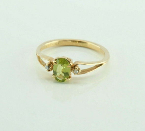 Vintage 14K Yellow Gold Peridot and Diamond Accent Ring Size 5 Circa 1960
