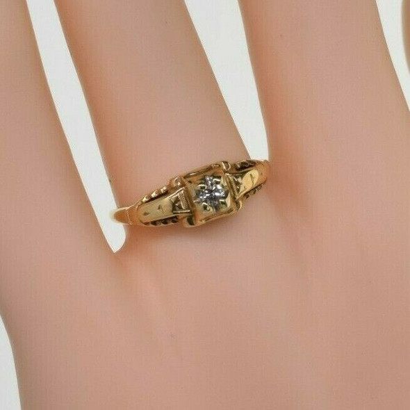 Antique 14K Yellow Gold Art Deco Diamond Solitaire Ring Size 8 Circa 1930