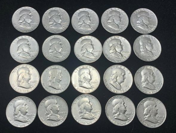 Lot of 20 1948-D Benjamin Franklin Halves