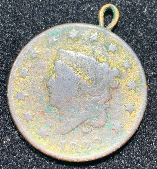 Vintage U.S.1822 Coronet Head Large Cent Pendant