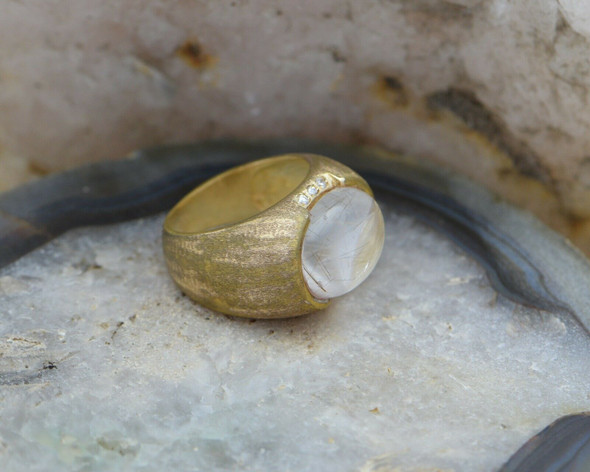10K Yellow Gold Rutilated Quartz Ring Circa 1960, Size 8