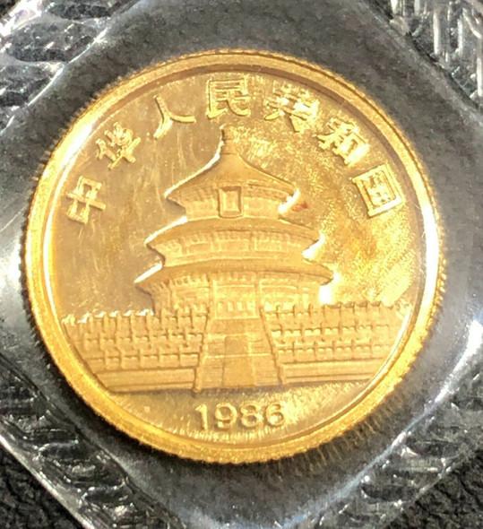 1986 China 5 Yuan 1/20 ozt Gold Panda Original Government Sealed Package