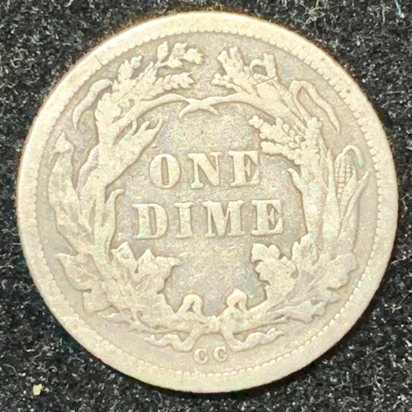 1876-CC Seated Liberty Silver Dime