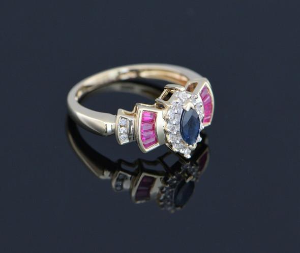 14K Yellow Gold Sapphire Diamond Halo and Ruby Ring circa 1980, Size 7