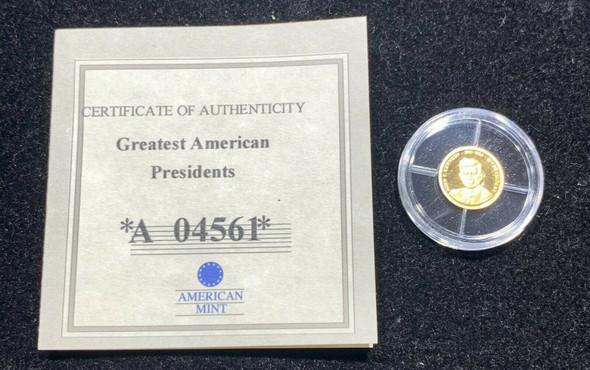 American Mint 14K Gold JFK Round Greatest American President Series