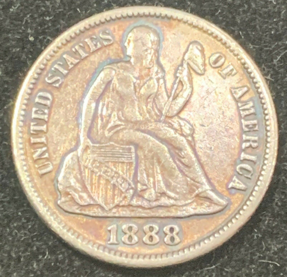 1888-S Seated Liberty Silver Dime Toned