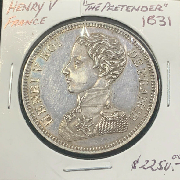 """1831 France Henry V """"The Pretender"""" Silver 5 Franc"""