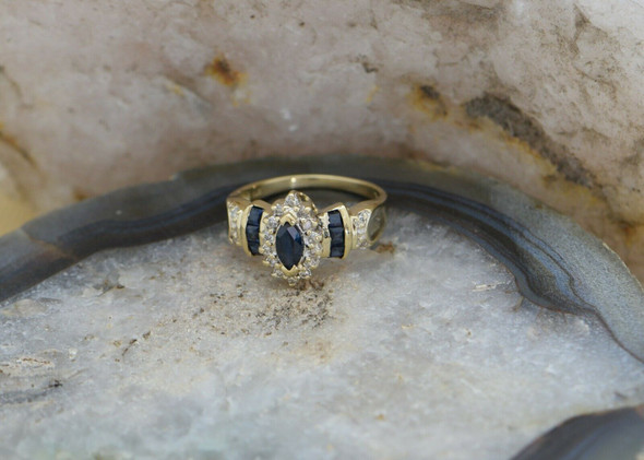 10K Yellow Gold Sapphire Diamond Halo Ring Circa 1970, Size 7