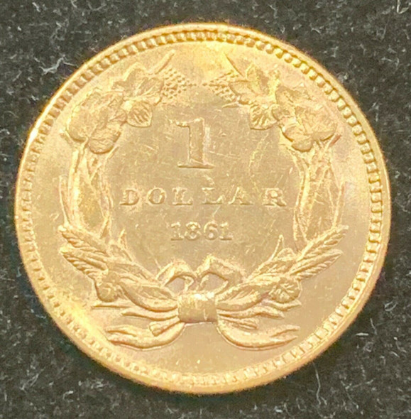 1861 Indian Princess Head, Large Head $1 Gold Type 3