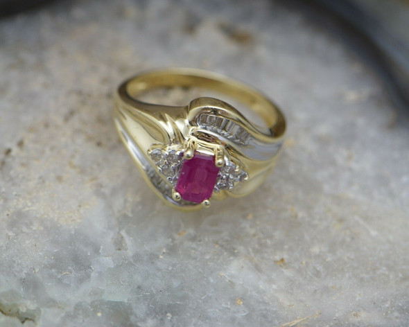 10K Yellow Gold Ruby and Diamond Ring, Bypass Design Circa 1990 Size 7.25