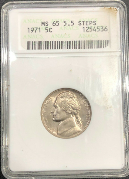1971 Jefferson Nickel 5.5 Steps ANACS MS 65