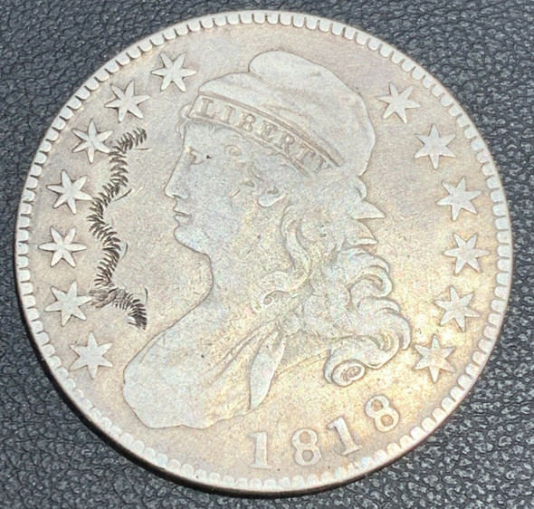 1818 Capped Bust, Lettered Edge Silver Half Dollar Engraved