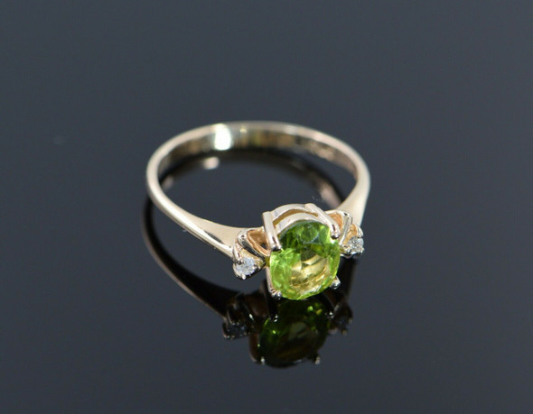 14K Yellow Gold Peridot Ring with Diamond Accents Circa 1960, Size 6.75