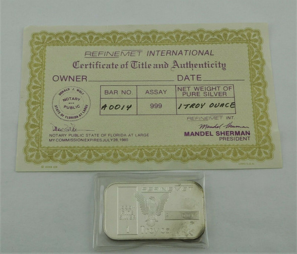 Vintage Refinemet A Series Silver 1 Ounce Bar Low Serial Number no. 14 w/Cert.