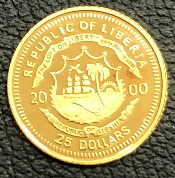 2000 Liberia $25 Gold - Christopher Columbus