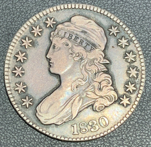 1830 Capped Bust, Lettered Edge Silver Half Dollar