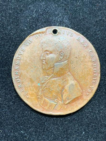 "1809 Ferdinand VII "" Most Catholic Majesty"" Royal & Pontifical University Bronze"