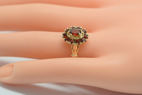 14K Yellow Gold Garnet Halo Ring with Oval Center Circa 1960, size 7