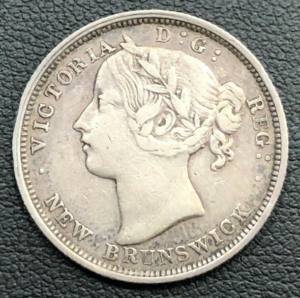 1864 Canada- New Brunswick Queen Victoria Silver 20 Cents