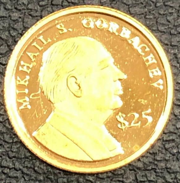 2000 Liberia $25 Gold Coin- Mikhail S. Gorbachev