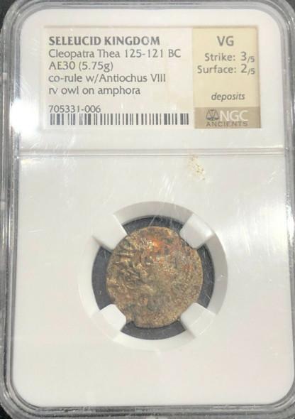 Seleucid Kingdom Cleopatra Thea 125-121 BC NGC VG