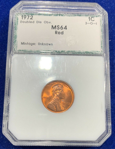 1972 Lincoln Memorial Cent Double Die Obverse Unc. Red