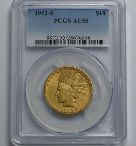 1912-S Indian $10.00 Gold Eagle PCGS AU-55