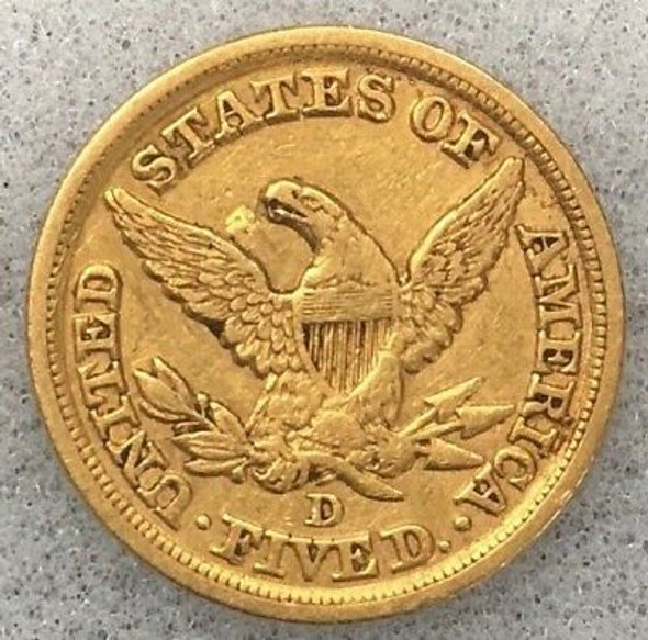 1852-D $5.00 Liberty Head Gold Half Eagle, No Motto