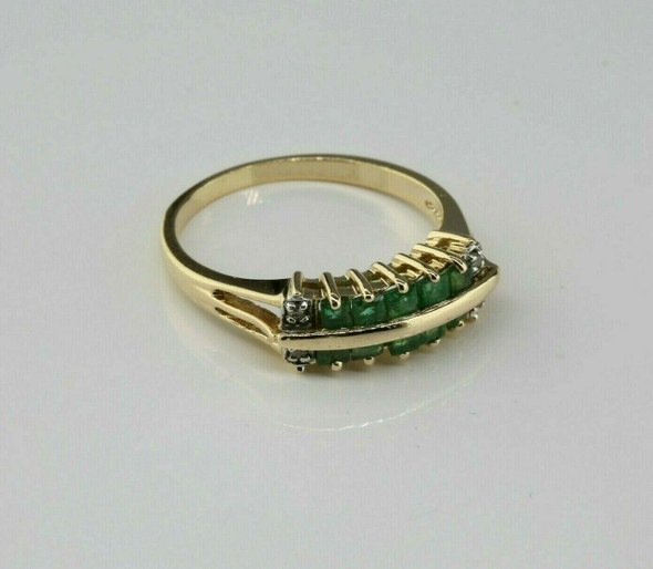 Vintage 14K Yellow Gold Emerald and Diamond Accent Ring Size 6.7 Circa 1950
