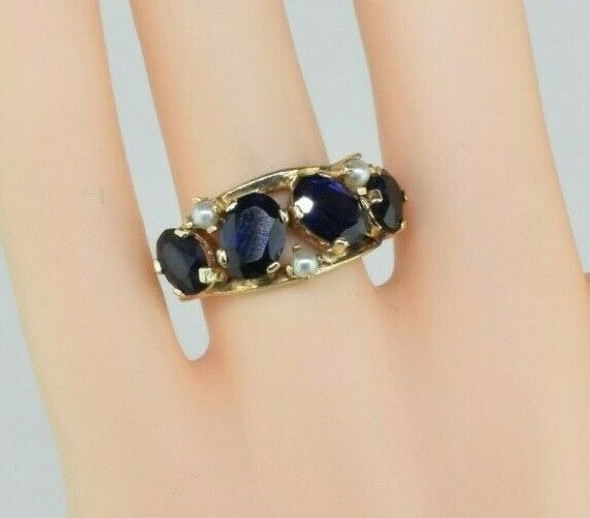 14K YG Synthetic Blue Sapphire and Pearl Accent Ring Size 6.75 Circa 1960