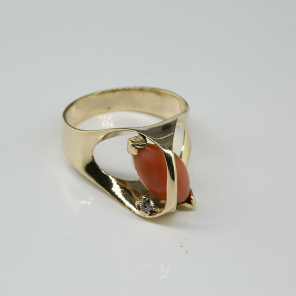 14K YG Modernist Red Coral and Diamond Accent Ring Size 5.75 Circa 1960